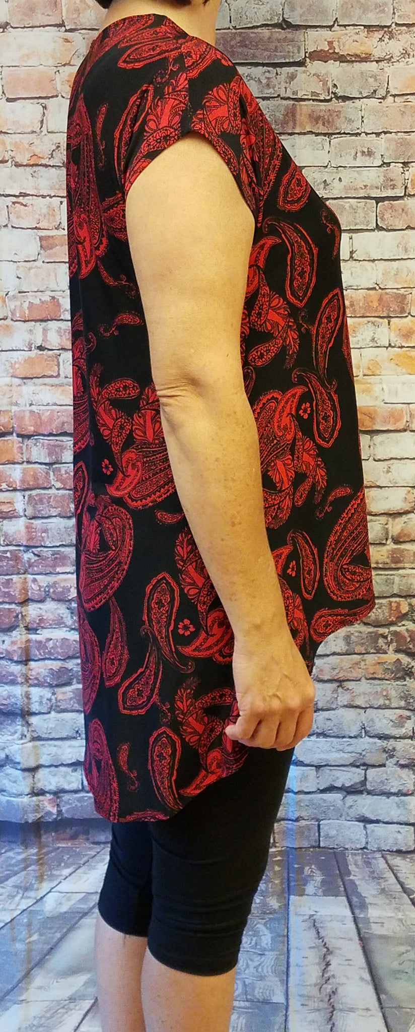 High Low Red Paisley Top