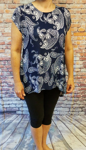 High Low Navy Paisley Top