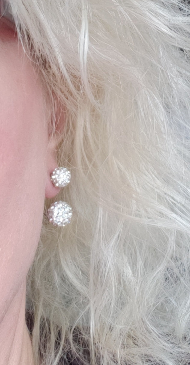 *Rhinestone Ball Stud Earrings