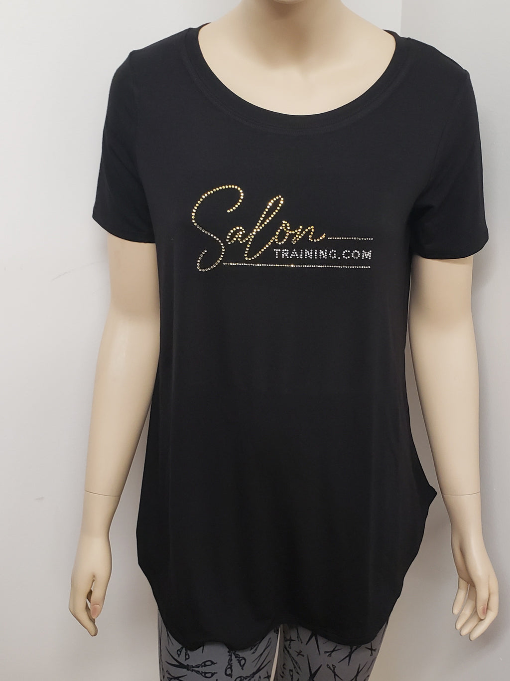 Salon Training Short Sleeve Top w Rhinestone Logo