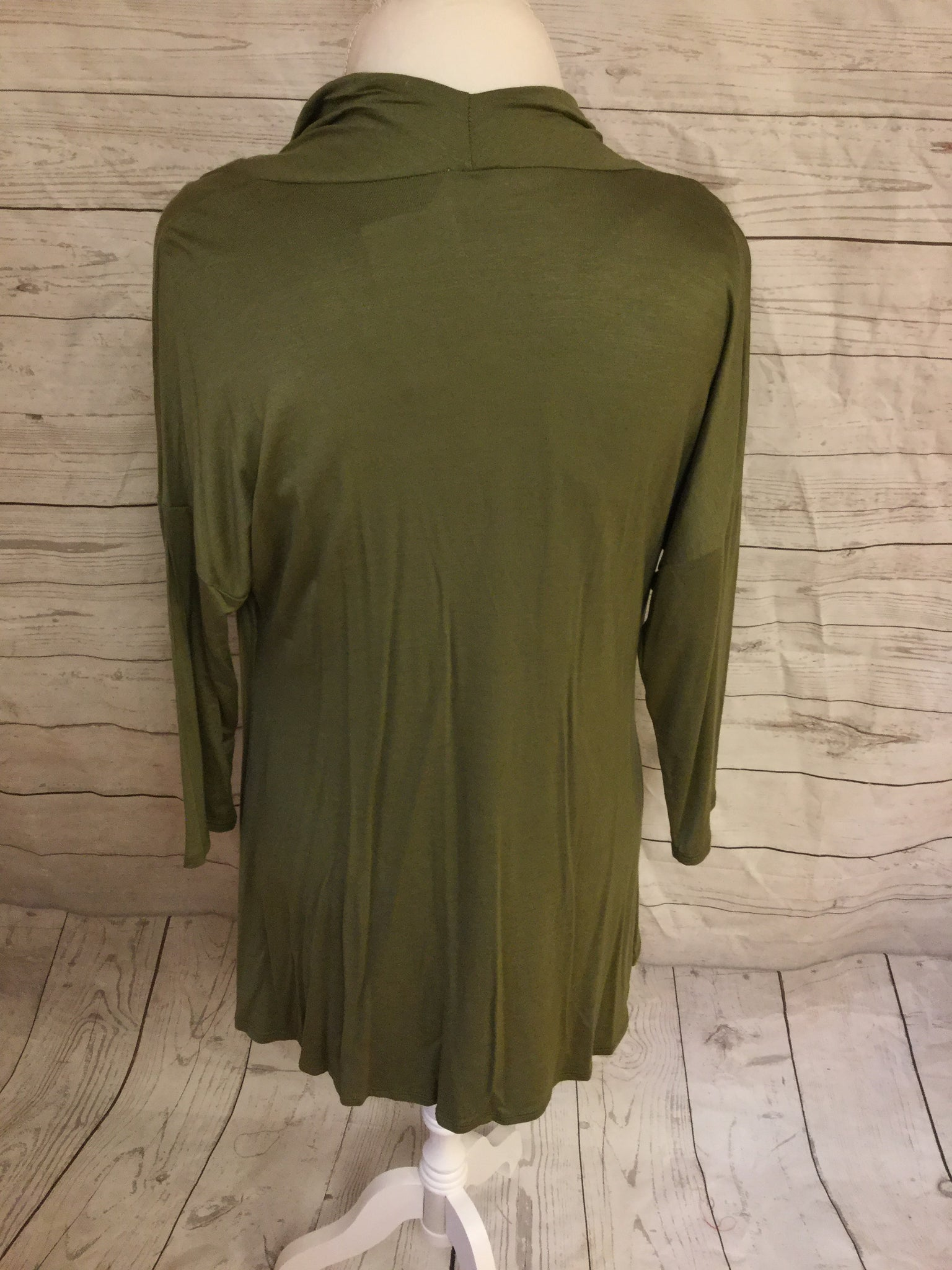 Waterfall Top with 3/4 Length Sleeve Light Olive Top