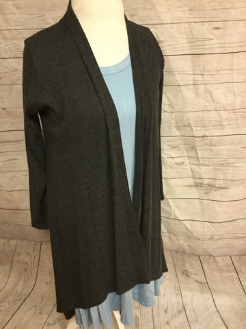 High Low Heather Gray Striped  Cardigan