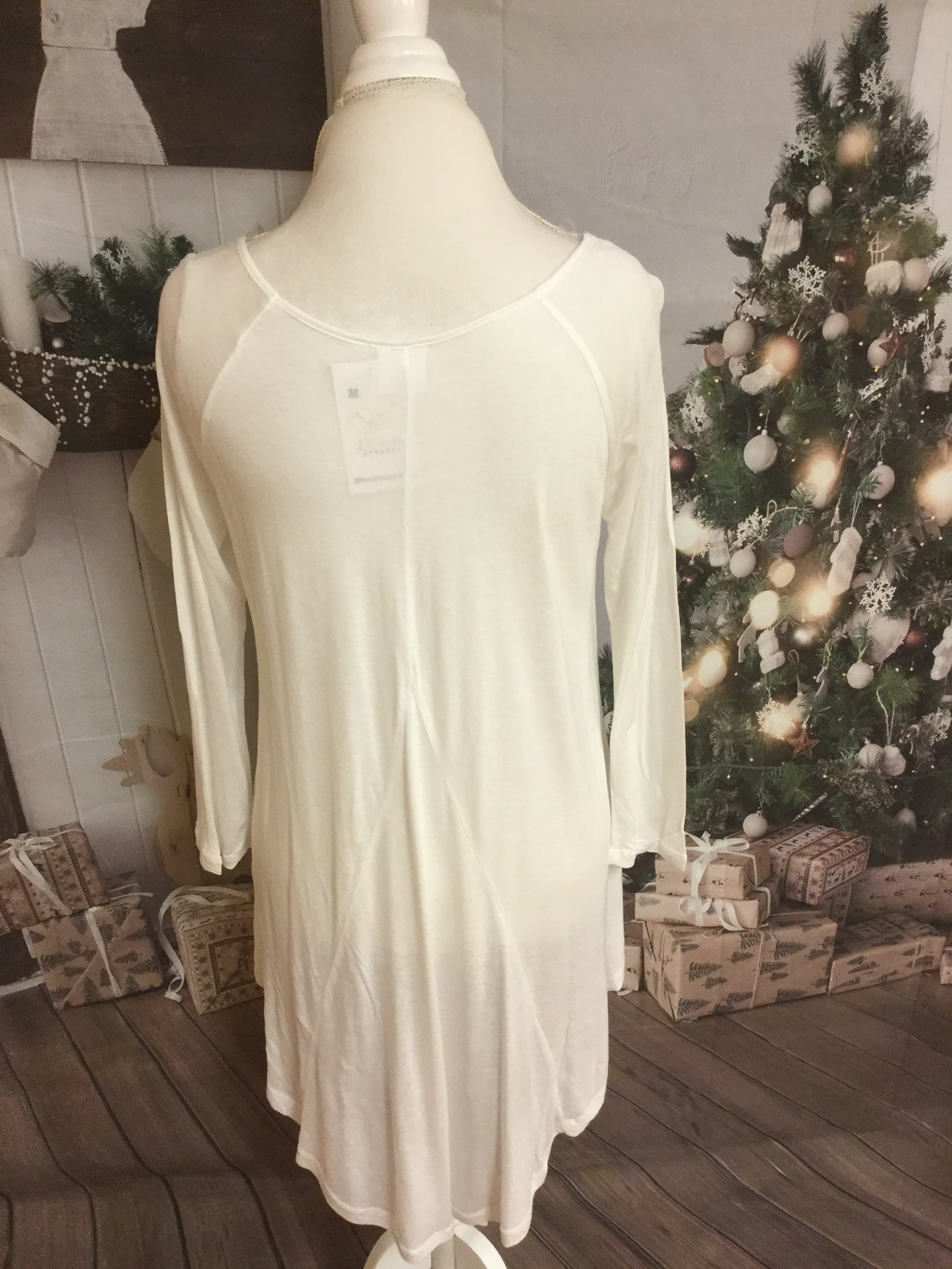 Cream 3/4 Sleeve High Low V Cut Tunic