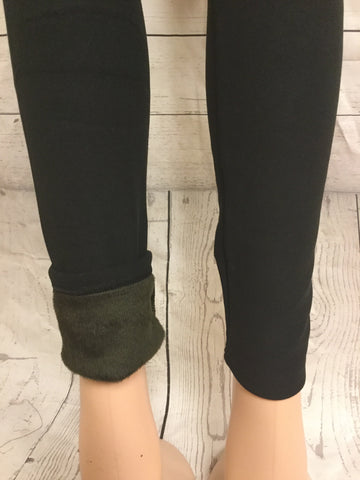FUR LINED SOLID BLACK LEGGINGS