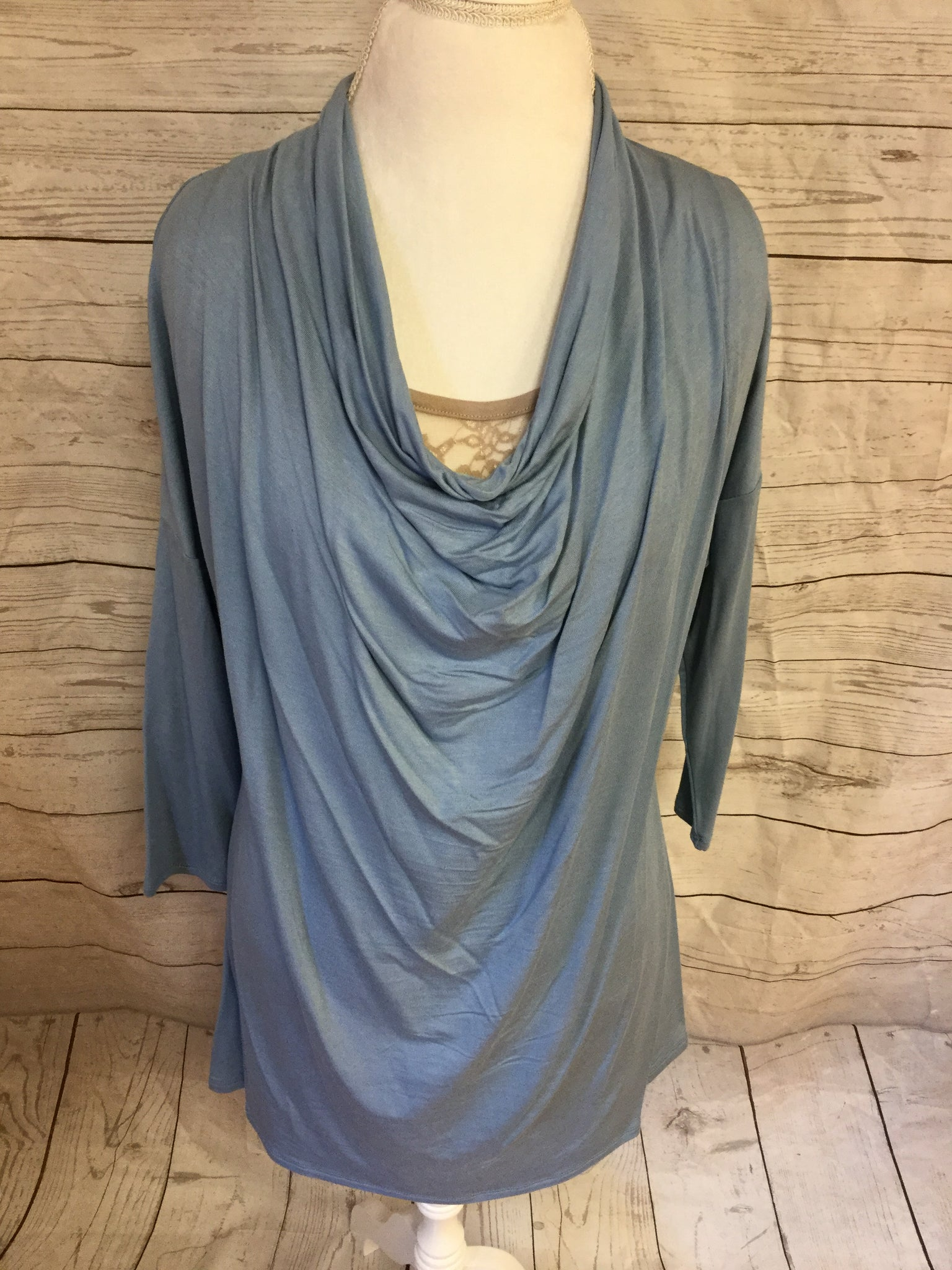Waterfall Top with 3/4 Length Sleeve Dusty Blue Top