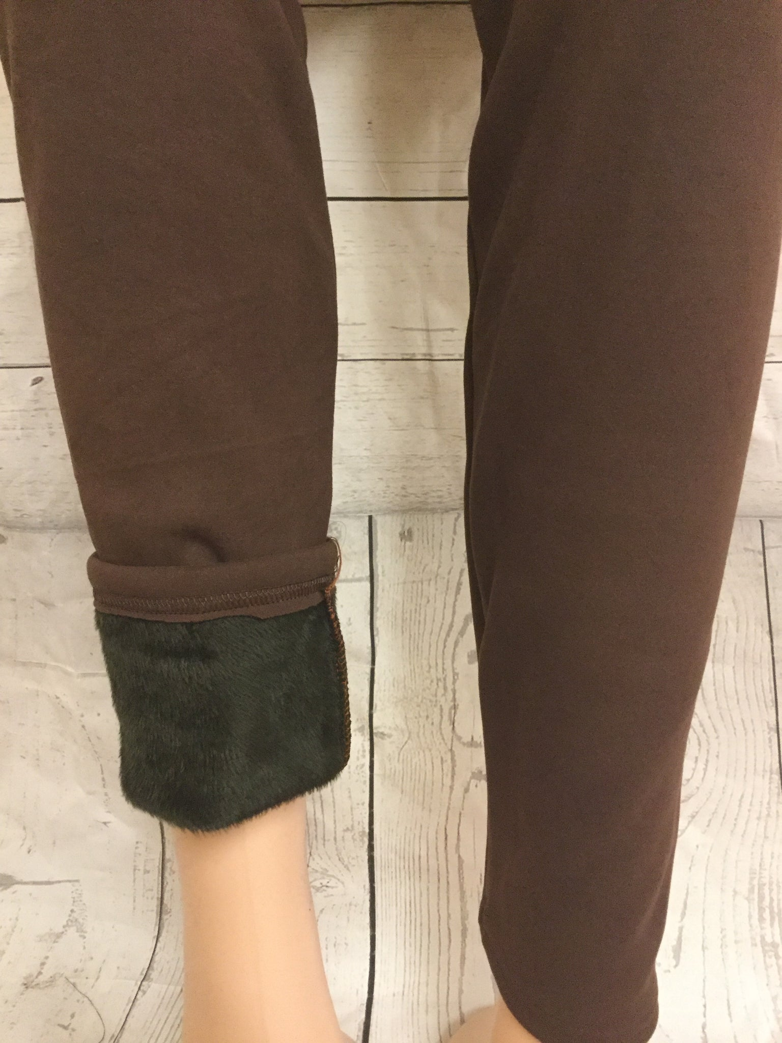 FUR LINED SOLID BROWN LEGGINGS