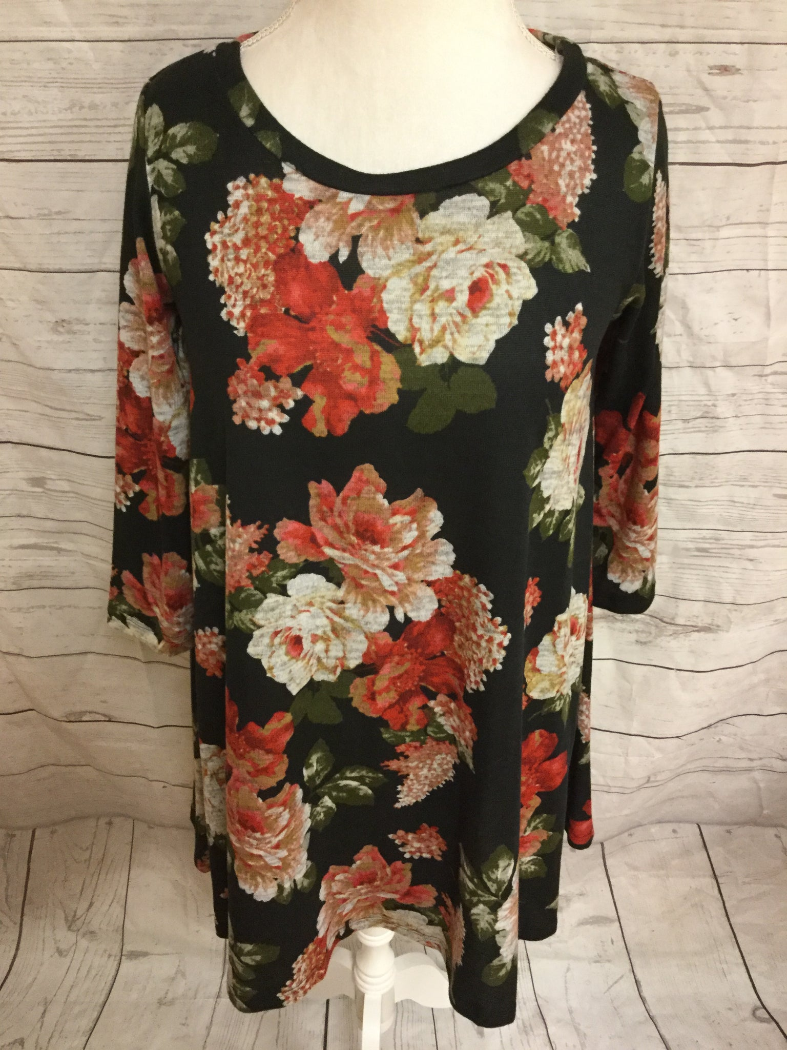 Soft Floral in Black Lightweight Sweater