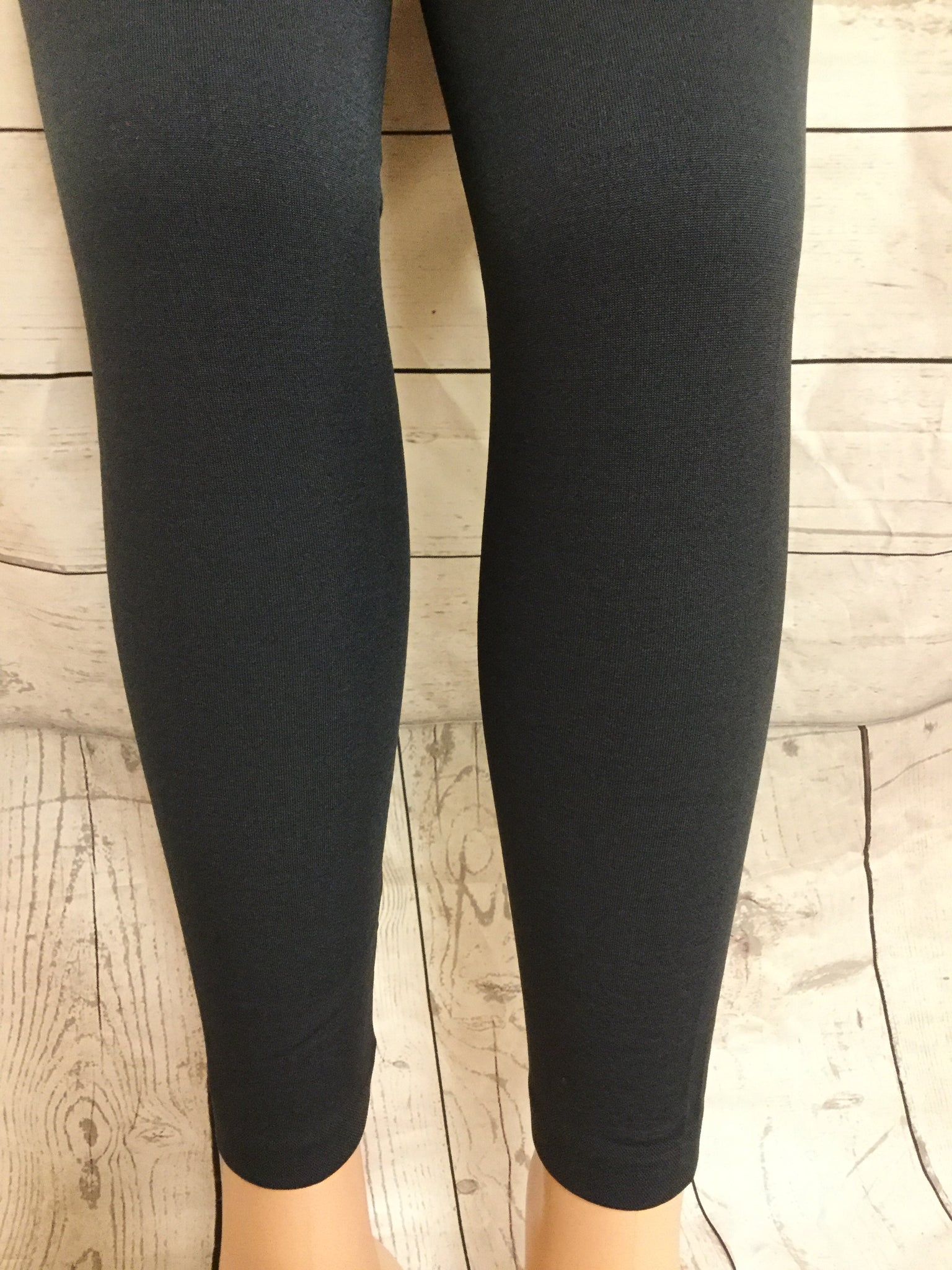SOLID CHARCOAL FLEECE LINED LEGGINGS