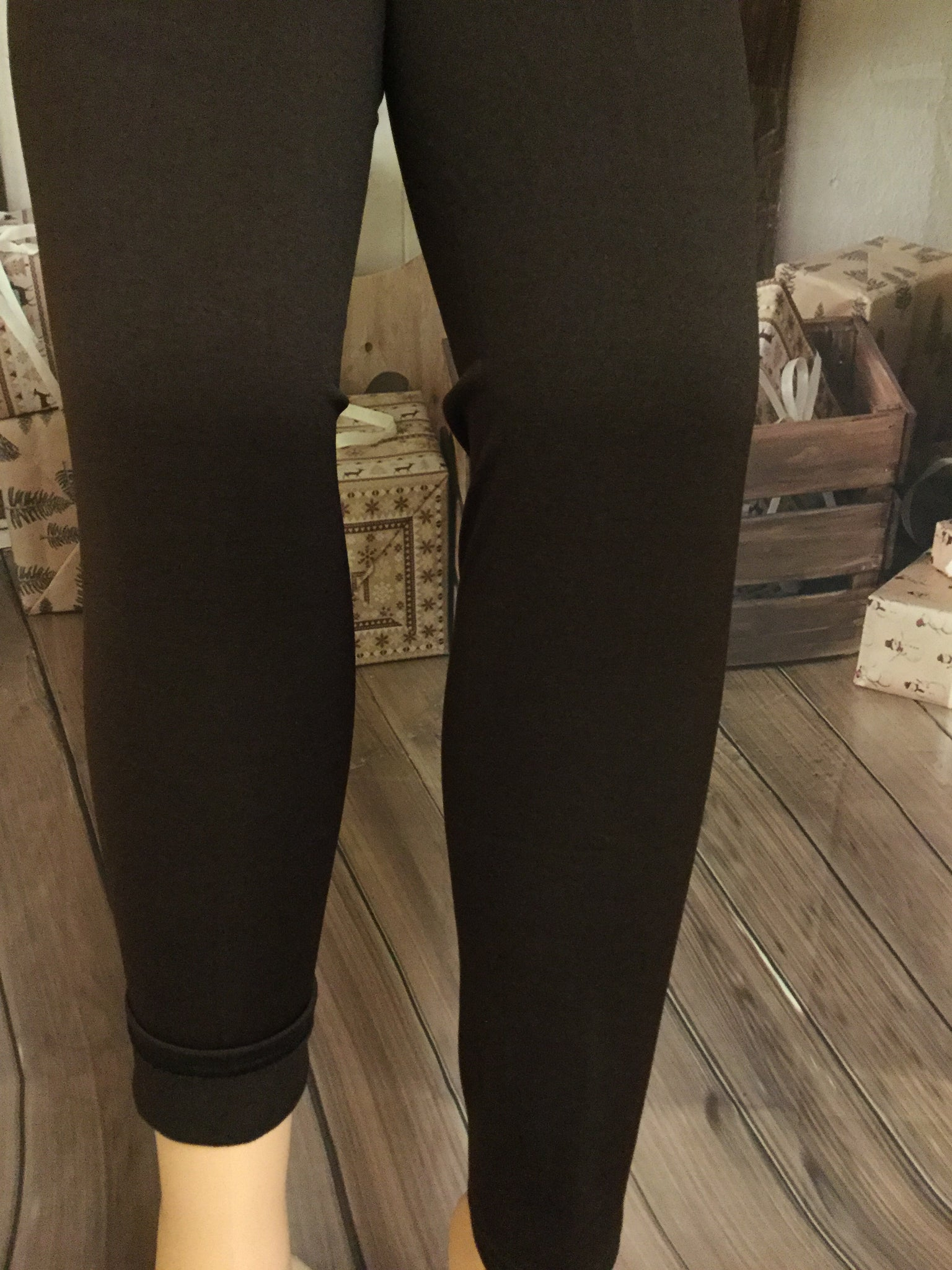 New Style Brown Fleeced Lined Leggings