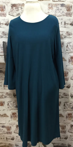 Plus Size Style Bell Sleeve Teal Dress