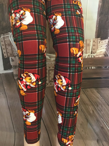 Teddy Bear Plaid Christmas Print Leggings