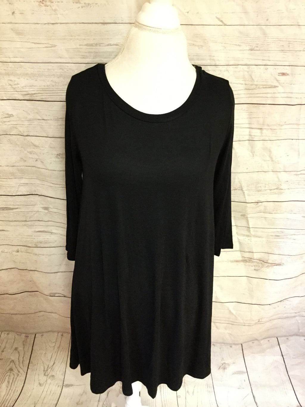 Black A Line 3/4 Sleeve Over Sized Tunic