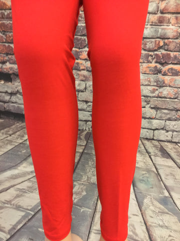 3X-4X  SOLID RED LEGGINGS