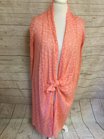 Long Heather Salmon Cardigan with Pockets