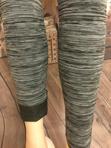Two Tone Charcoal and Gray Fleece Leggings