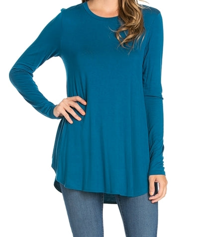 Long Sleeve Rounded Edge Teal Top