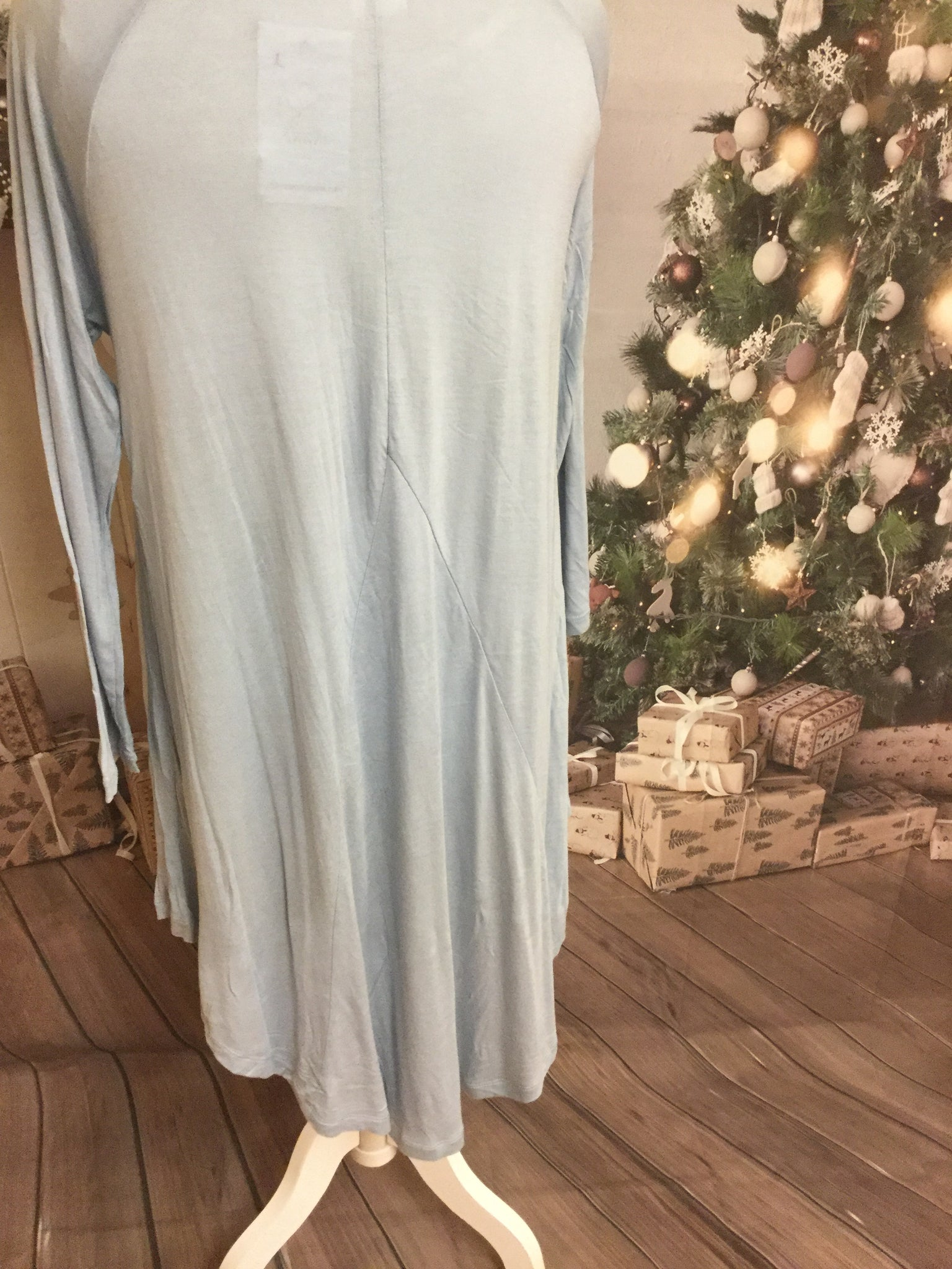 Light Blue 3/4 Sleeve High Low V Cut Tunic
