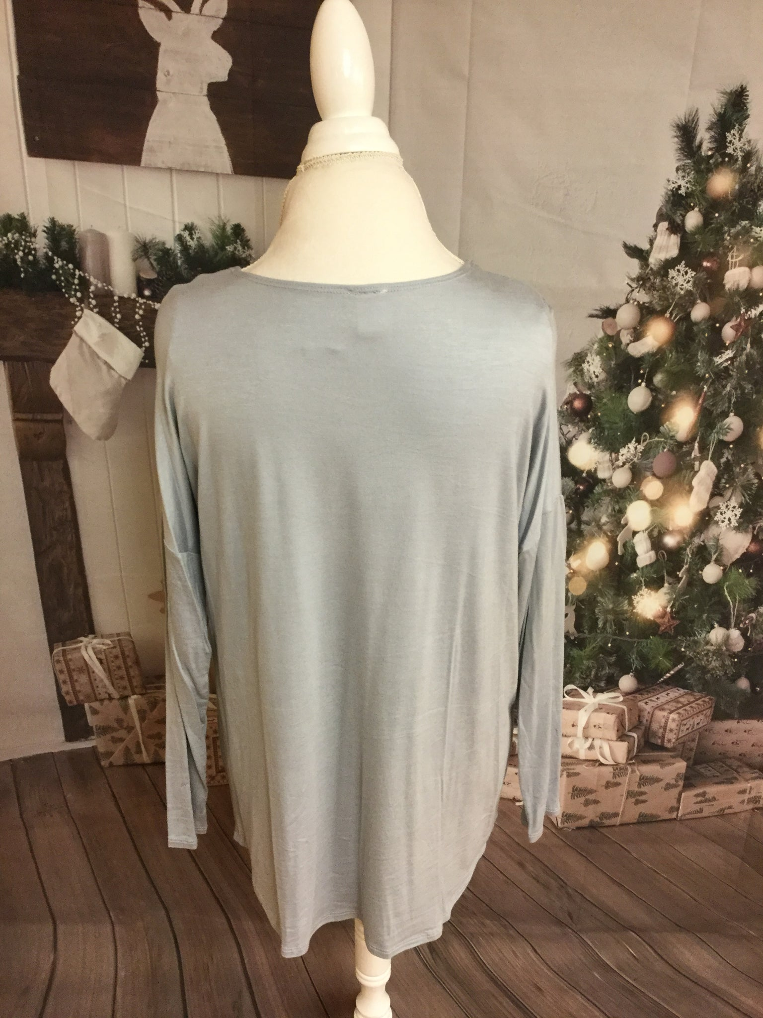 Long Sleeve Open Neckline SilverTop