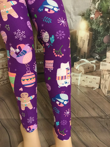 Purple Fun Christmas Print Leggings