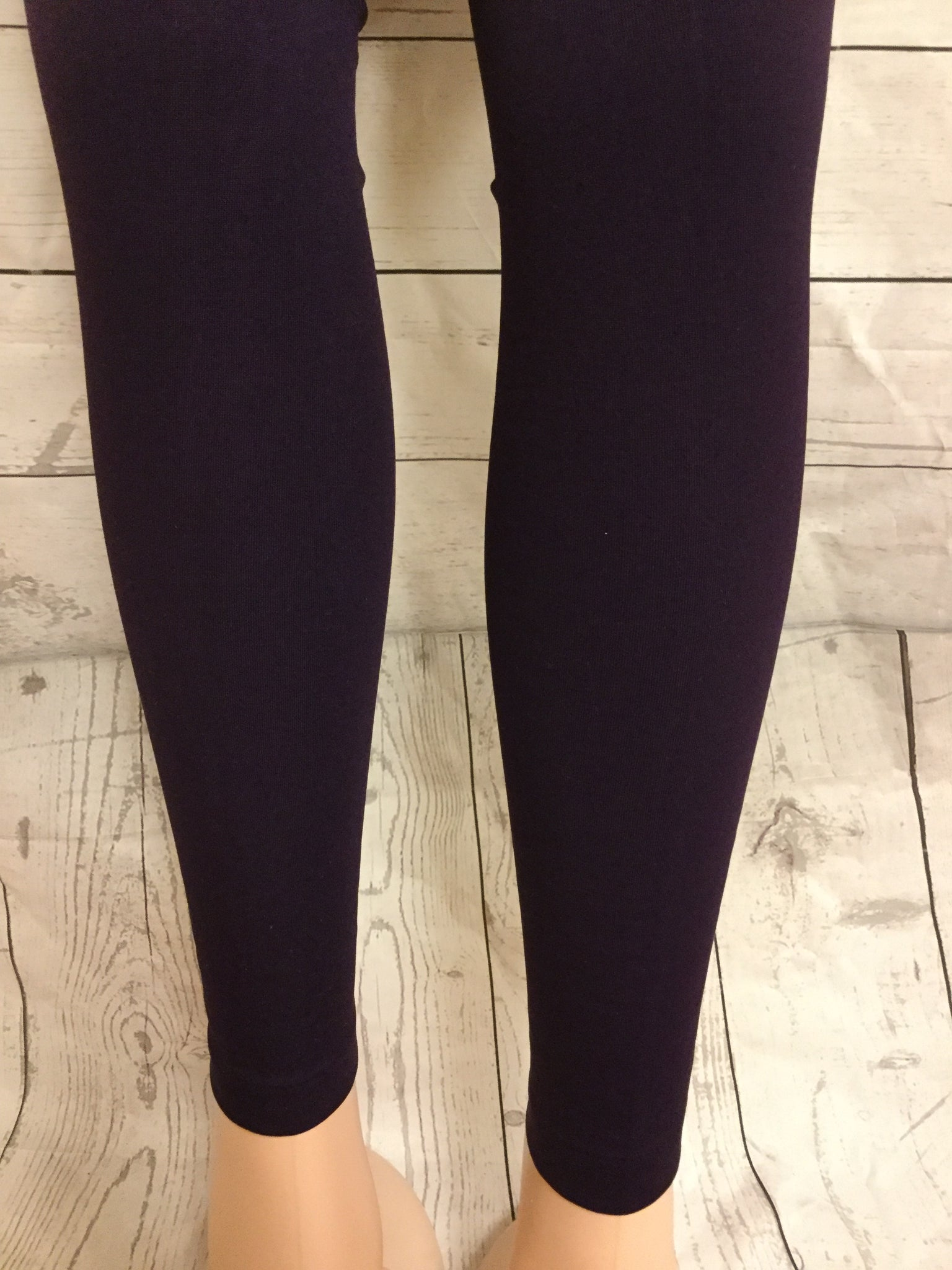 SOLID PLUM FLEECE LINED LEGGINGS