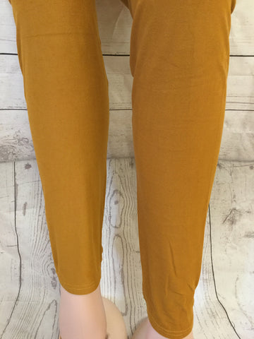 3X-4X SOLID MUSTARD LEGGINGS