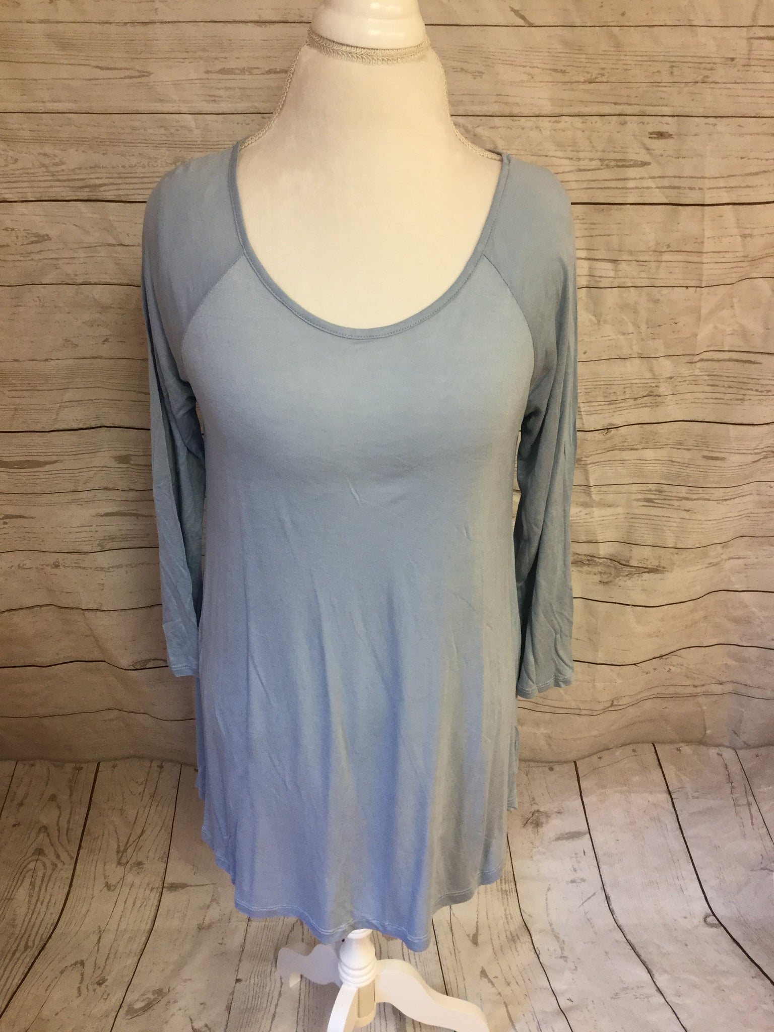 Long Sleeve Lt. Blue High Low Top