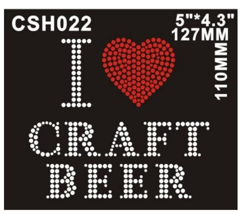 I Love Craft Beer Rhinestone artwork