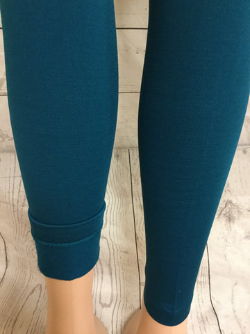 Solid Teal Fleece Leggings