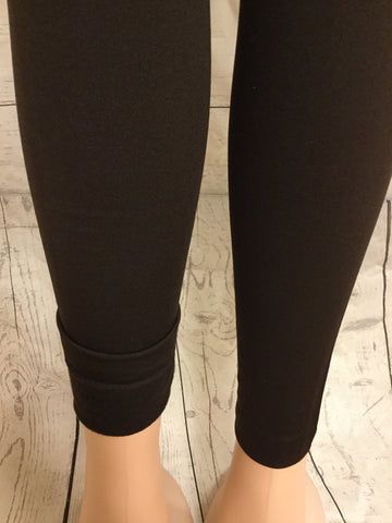 SOLID BROWN FLEECE LINED LEGGINGS