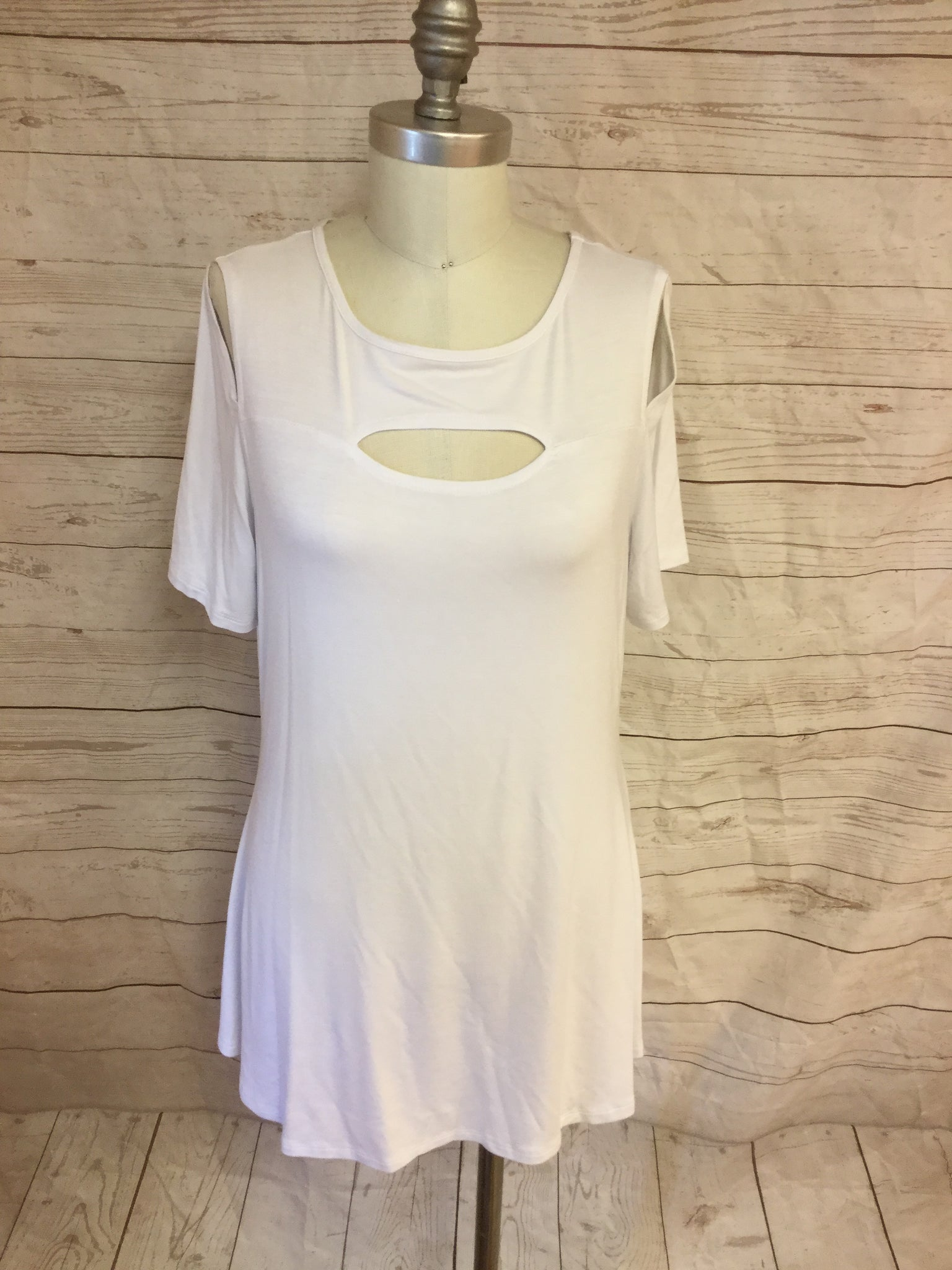 Peek a Boo Cold Shoulder White Tunic