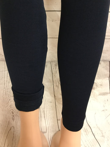 SOLID NAVY FLEECE LINED LEGGINGS