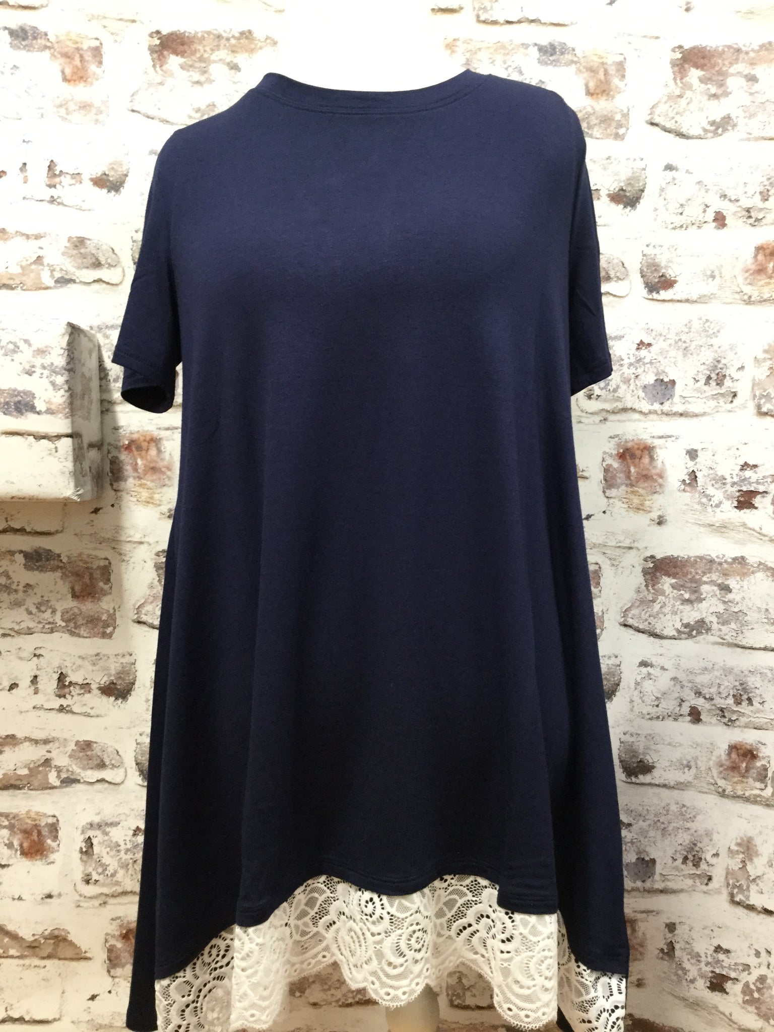 Lace Edge Short Sleeved Navy Tunic