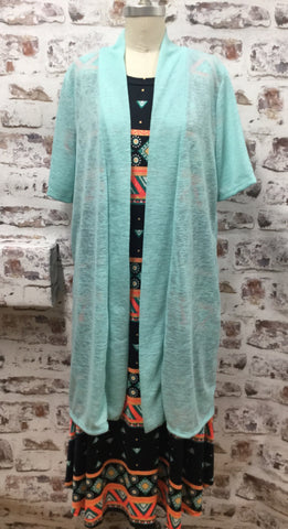 Plus Size Mint Open Front Cardigan