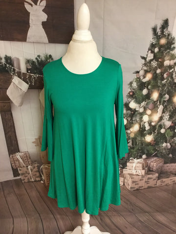 New Style Bell Sleeve Green Top