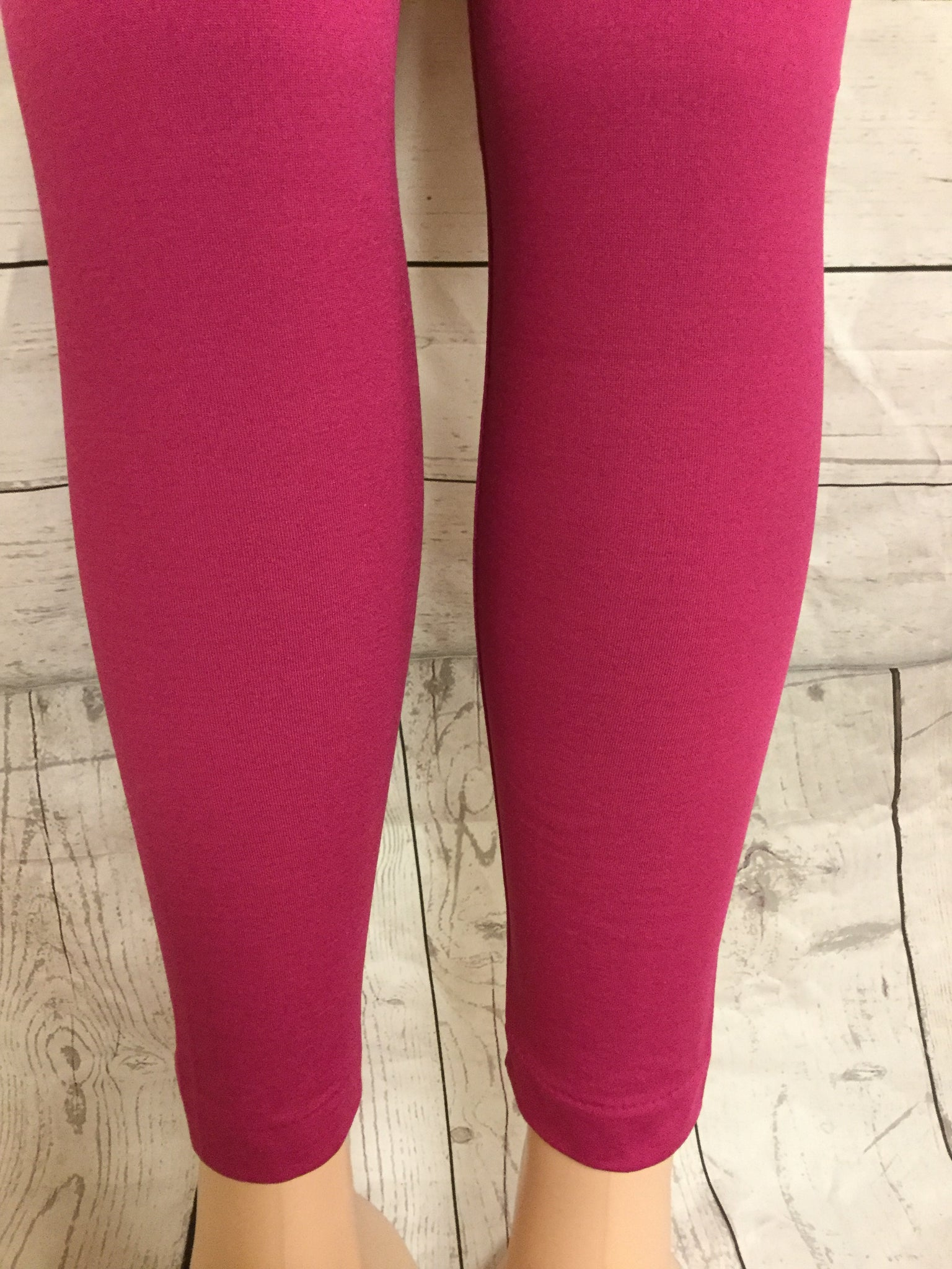 SOLID FUSHIA FLEECE LINED LEGGINGS