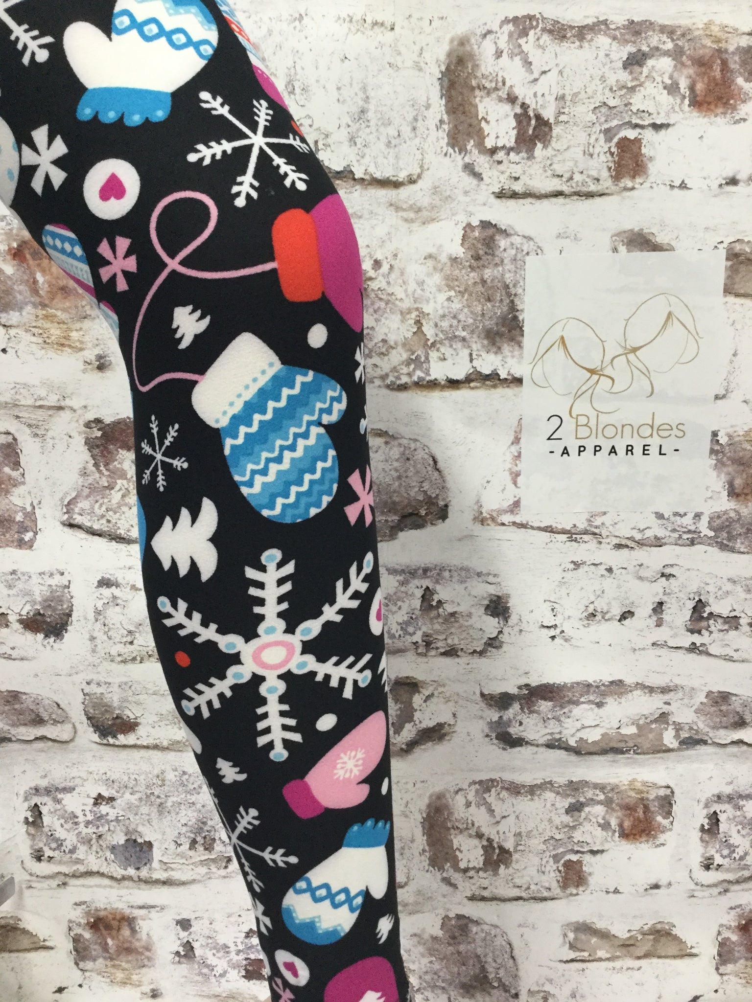Girls Mittens  Christmas Print Leggings