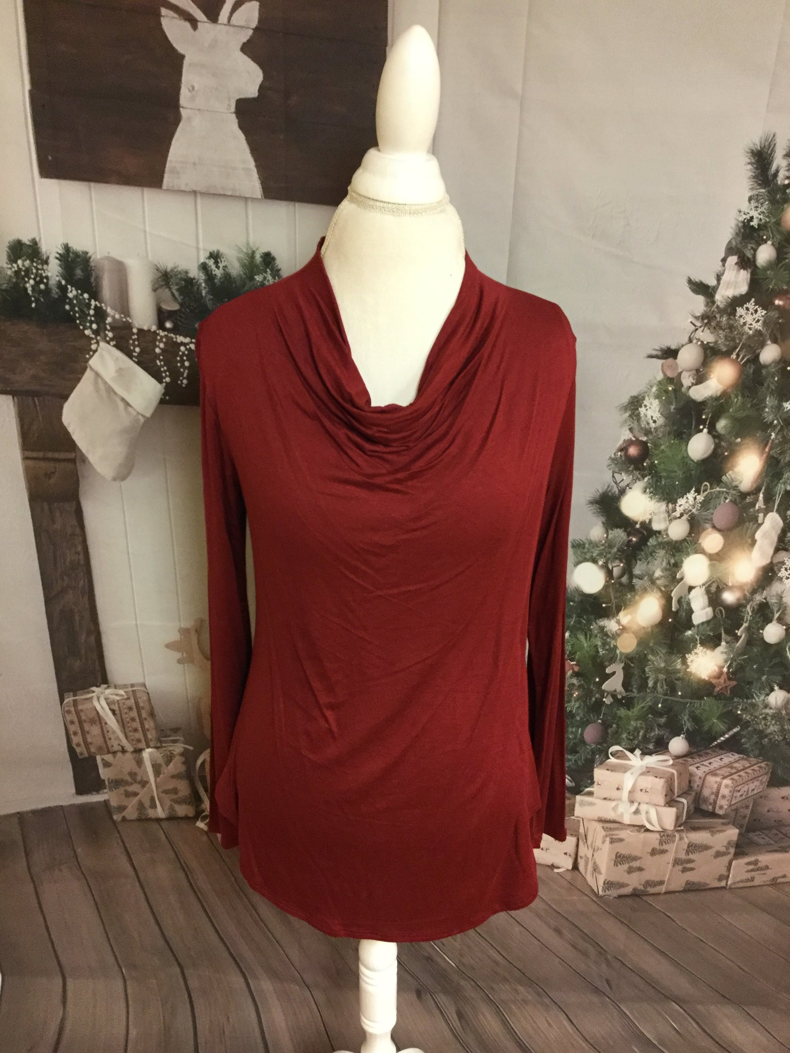 Long Sleeve Wine  Cow Neck Top