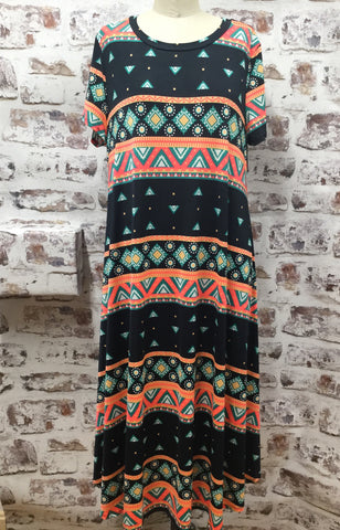 Plus Size Bright Aztec Print Dress