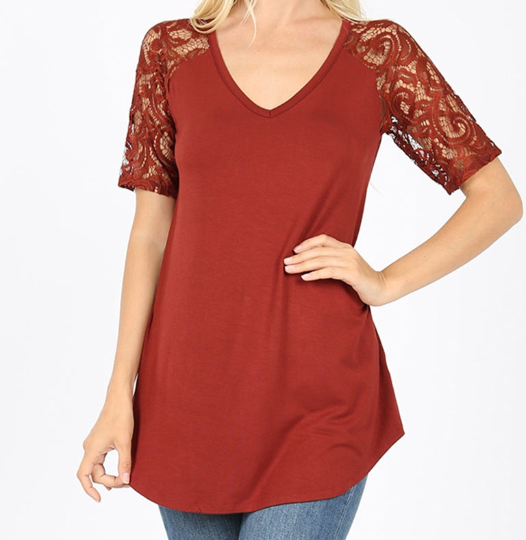 V Neck Lace Short Sleeve Top in Pack