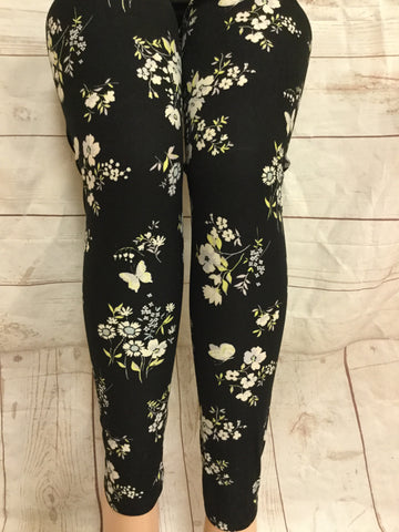 White Candytufts Printed Leggings