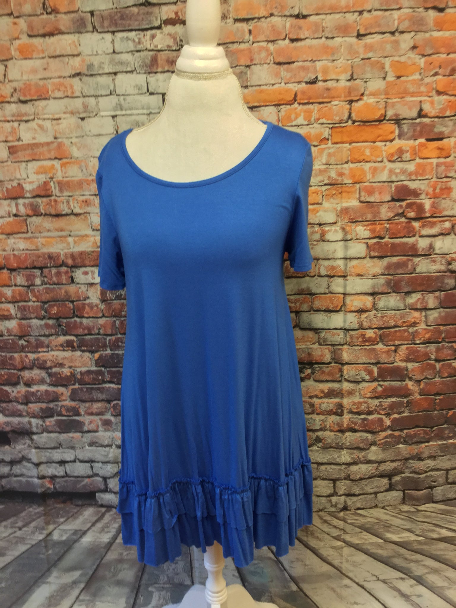 Doubled Layered  Cobalt Ruffled Tunic