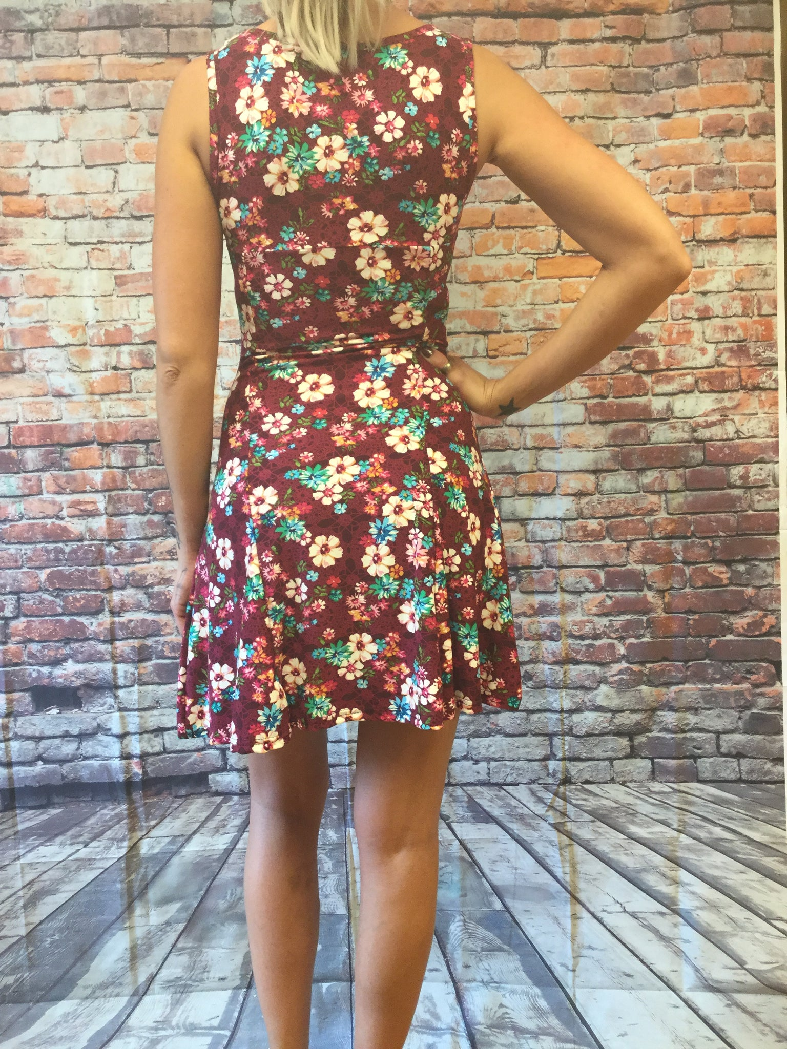 Body Con Spring Flower Printed Fitted Dress