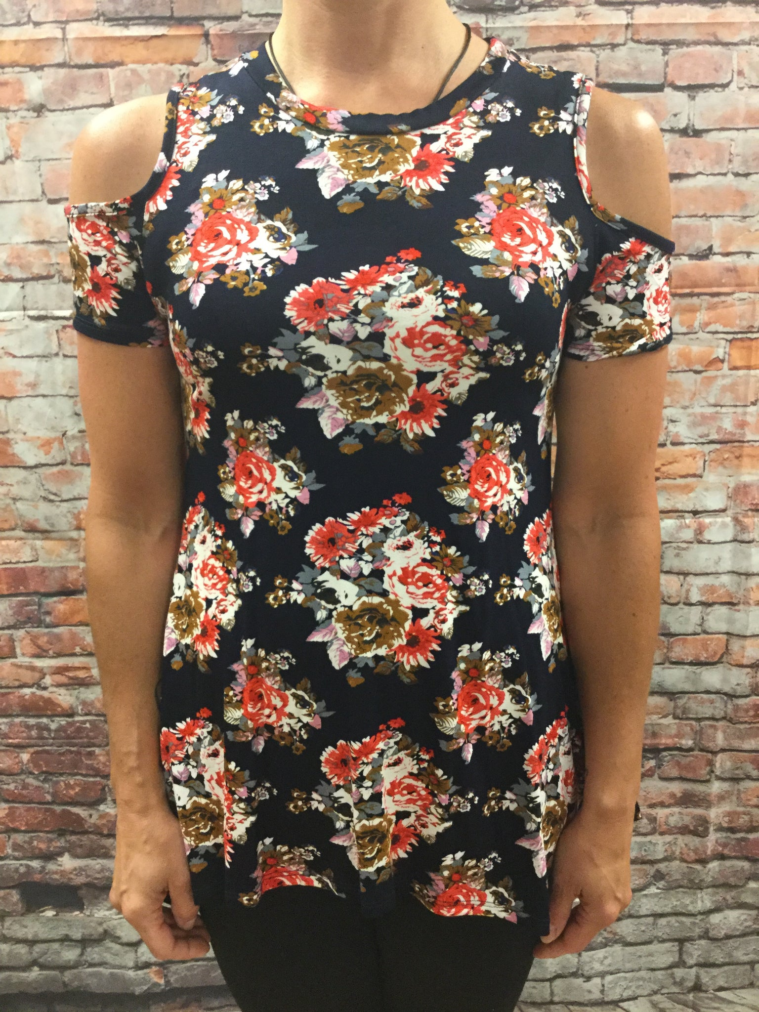 Navy and Red Flower Print Cold Shoulder Top