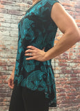 High Low Teal Paisley Top