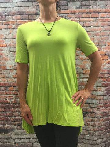 High Low Lime V Cut Top