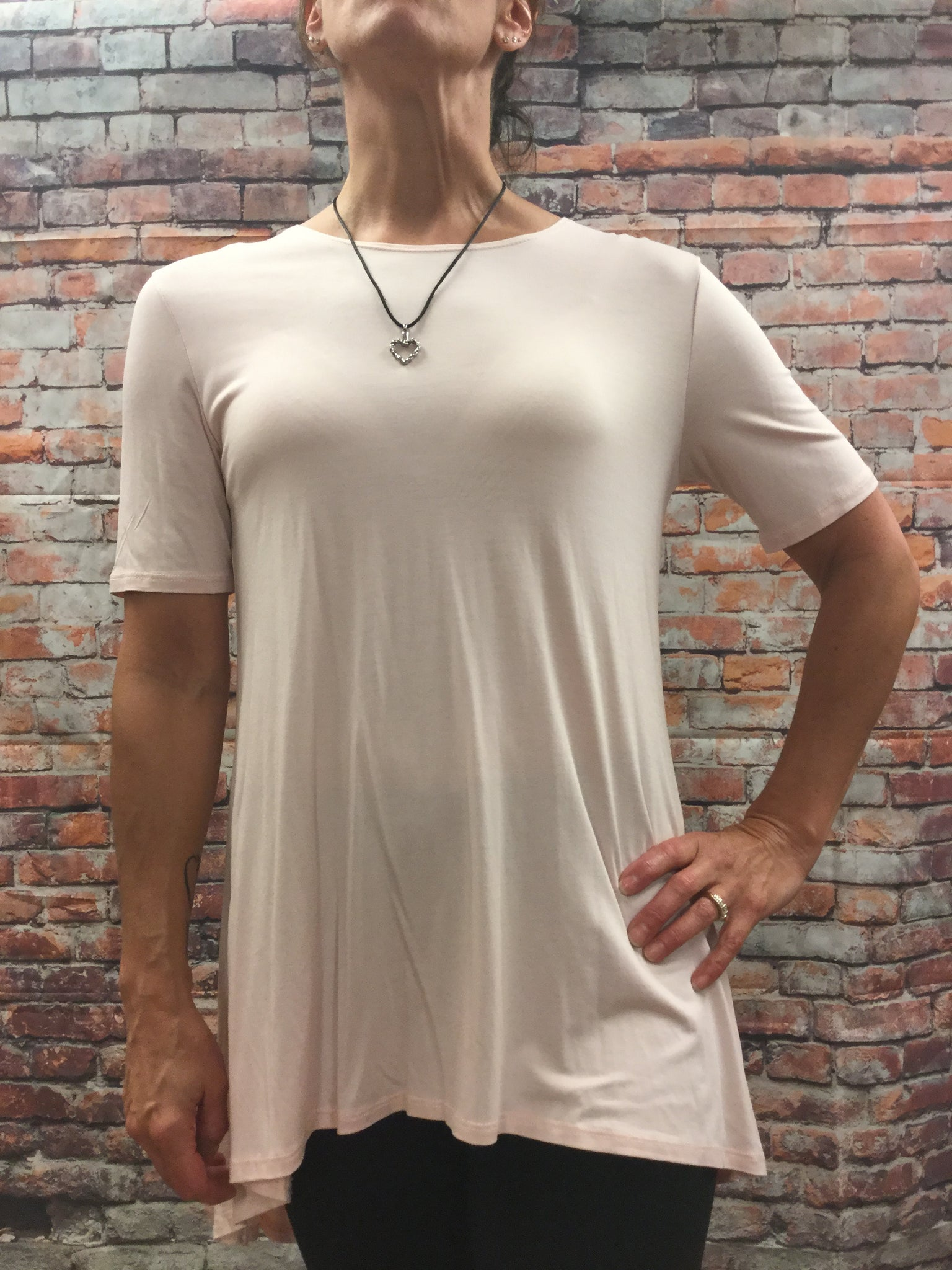 High Low Light Peach V Cut Top