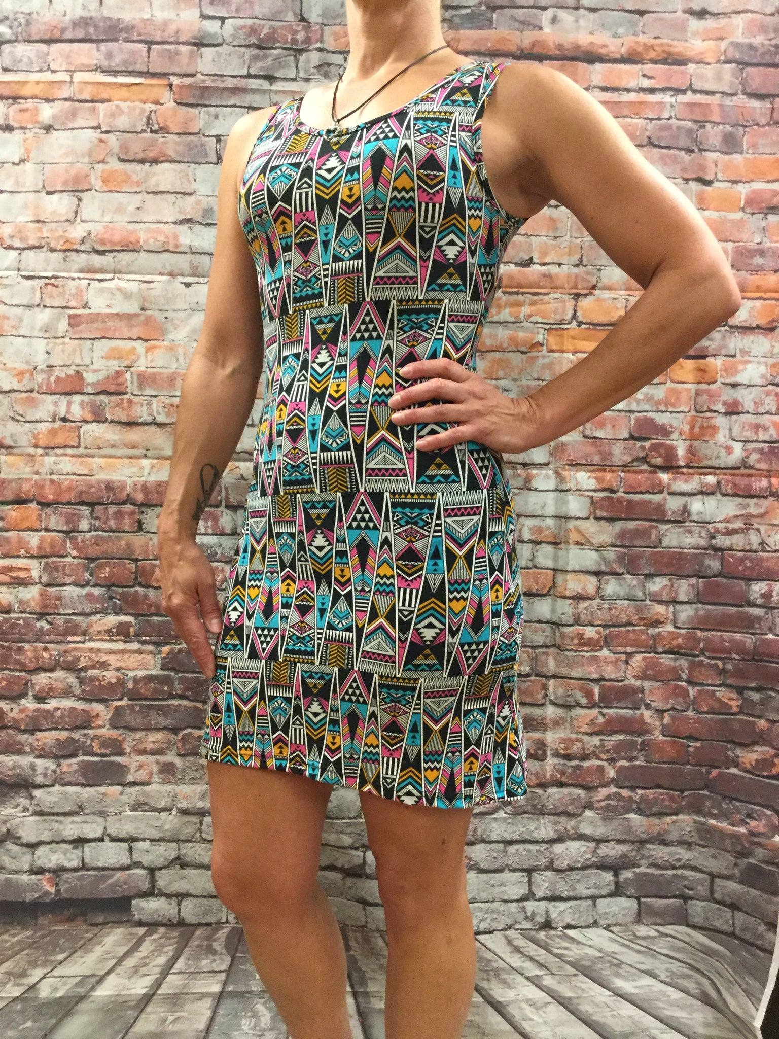 Body Con Aztec Print Fitted Dress