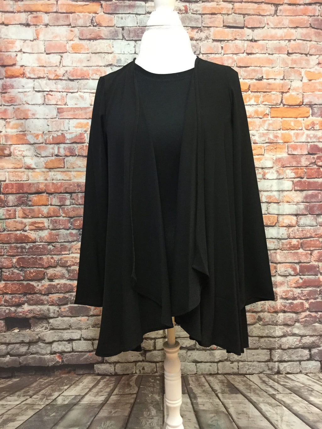 Long Sleeve Black Short Waisted Cardigan