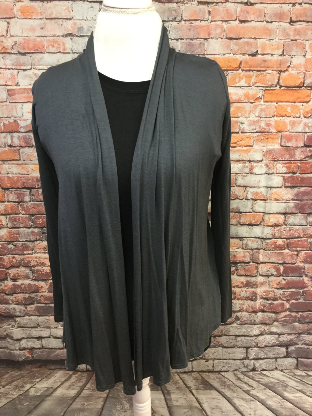 Mid Waist Dark Gray Cardigan