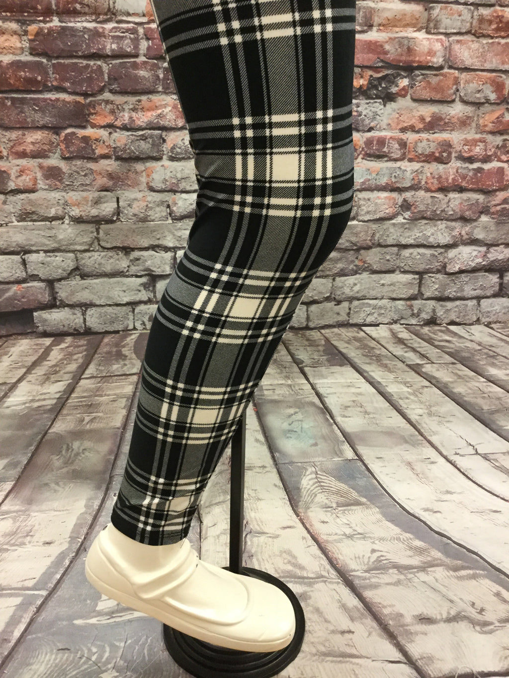 Black Plaid Girls Leggings